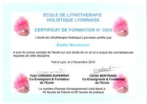 Certificat de lithothérapie École de lithothérapie holistique lyonnaise