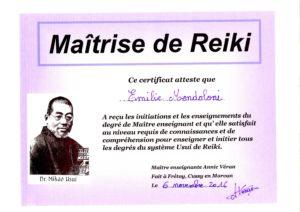 Certificat de Maîtrise Reiki Usui