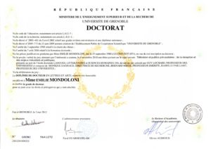 Doctorat en Sciences Humaines et Sociales