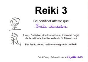 Attestation de formation Reiki Usui, degré 3