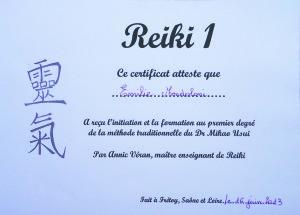 Attestation de formation Reiki, degré 1