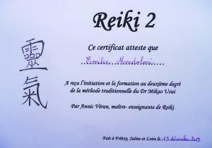 Attestation de formation Reiki, degré 2