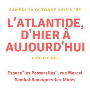 conférence Atlantide le 20 octobre 2018 à Sanvignes-les-Mines